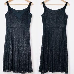 Betsey Johnson Black Silk Lace Pleated Skirt Dress